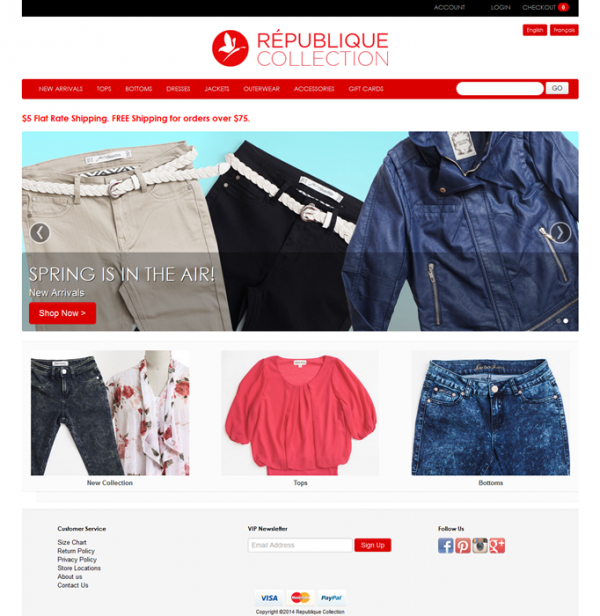 French and English Multi Language Shopify Store Republique Collection