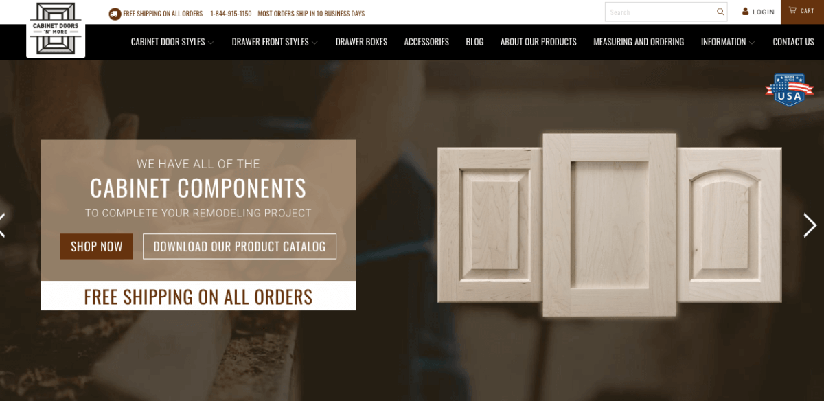 Cabinets Doors N More Website created by Blackbelt Commerce Shopify Develoeprs